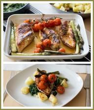 Kuře, mačkané brambory, smetanový špenát (Jamie Oliver)