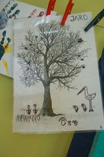 Zalaminovaný strom bez ničeho -chci používat na jednotlivá období. Dnes jsme si povídali o jaru.