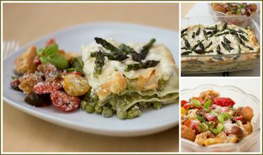 Letní zeleninové lasagne, toskánský rajčatový salát - Jamie Oliver