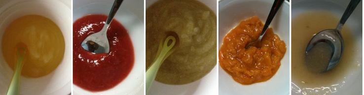 Pyré z různých druhů ovoce: jablko, švestky, hruška s jablkem, meruňky, bílé hroznové víno