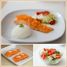 Pečený losos s mrkví, rýže, zeleninový salát