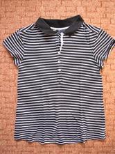Černobílé bavlněné tričko s límečkem, m