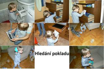 Maminka dělala večeři a kluci běhali po bytě a hledali poklad. Tomík dostal foto jedné zásuvky v kuchyni a v té bylo další atd. Nakonci byl poklad-medvídci. Prý to zopakujeme. :-) Zdroj: http://zlesa.blogspot.com/#!/