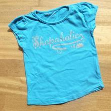 Tyrkysové triko s nápisem shopaholic vel. 4-5 let, girl2girl,110
