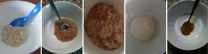 Zavedení lepku, bílkoviny kravského mléka a ořechů: ve vodě rozvařené ovesné vločky, ve vodě rozvařené ječné vločky, ve vodě rozvařené špaldové vločky, jogurt a na pastu rozmixované lískové ořechy
