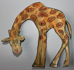 ZOO týden_žirafa (voskovky + vodové barvy)