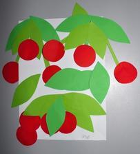 Téma: léto_třešně (barevné papíry, koláž)