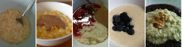 Kaše z různých druhů obilnin, ovoce a ořechů: banán s jablkem a kokosovým mlékem, rýže s ovesným mlékem, meruňkami a mandlovou pastou, rýže s rýžovým mlékem, jablky, rybízem a lískoořechovou pastou, pohanková krupice s mlékem, kakaovým máslem, borůvkami a ostružinami a jáhly s ovesným mlékem, třešněmi, černým rybízem, jablky a pastou z kešu ořechů