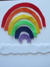 Skládání duhy http://www.playcreateexplore.com/2013/02/felt-rainbow-busy-bag.html