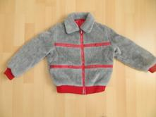 Šedočervený kabátek - kožíšek, 116