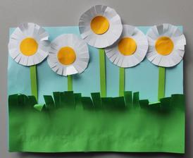 Jarní květiny_sedmikrásky (stříhání + lepení)