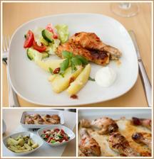 Thajské kuřecí paličky, středomořský bramborový salát, zeleninový salát