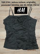 Sváteční černé tílko s posuvnými ramínky, h&m,m