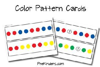 logické řady...k tisku... http://www.prekinders.com/2008/02/color-pattern-cards/