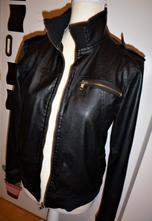 Černá bunda z eco kůže - vel.s-m s vadou, m