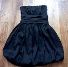 Balonové dámské černé šaty bez ramínek,bezva stav, 38