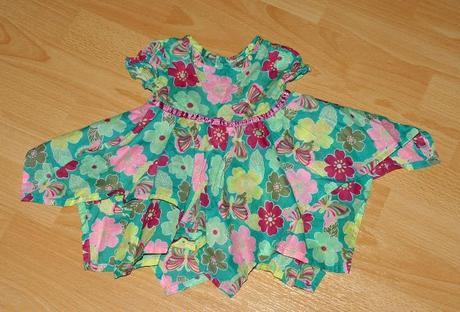 Letní bavlněné cípaté šaty s květy 0-3 měsíce, f&f,62