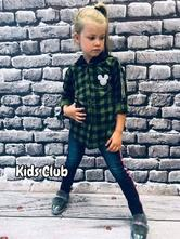Kostkovaná dívčí košile mickey, 92 - 164