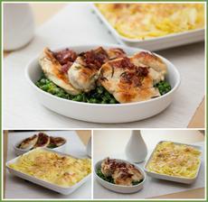 Zlaté kuře, dušená zelenina, gratinované brambory - podle Jamieho 15 minut v kuchyni