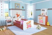 Dětská postel se zábranou ourbaby - méďa calvados, 70,140