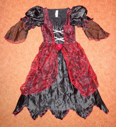 Kostým šaty čarodějnice, tu, vel. 8-10 let.,