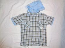 Luxusní modrohnědá kostičkovaná košile s kapucí, rebel,134