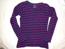 Supr modrorůžové pruhované elastické tričko146/152, h&m,146