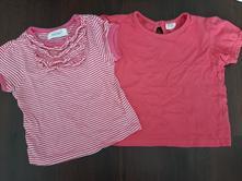 2x růžové tričko krátký rukáv 1-2 roky, early days,86