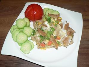 OBĚD: zapečené celozrnné těstoviny, zelenina