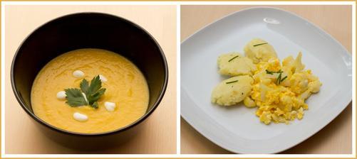 Dnešní žlutý oběd ve znamení zeleniny - Zeleninový krém, Květákový mozeček a brambory