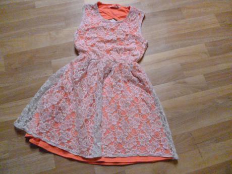 Neon šaty s krajkou vel. 12-13 yd, 158