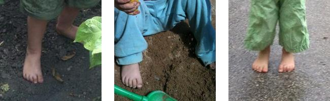Dětské boty a chůze naboso