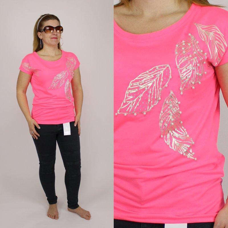 a9f955a1770bb Dámské neonové růžové tričko s perličkama, - 359 Kč Od prodejkyně  danasenkova | Dětský bazar | ModryKonik.cz