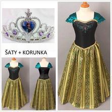Set anna 3 ledové království šaty + korunka, 98 - 140