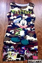Dámské 3d šaty army mickey mouse,top stav, m