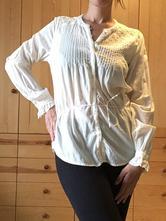 Dámská bílá košile ozdobená krajkou, h&m,38