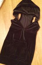 Černá sametová šatovka ,šaty vel. xs/ 158, benetton,158