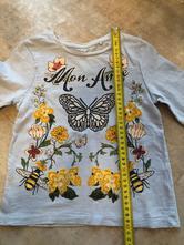 Modré triko next 3-4roky 104cm včela motýl třpytky, next,104