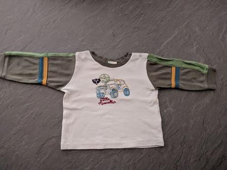 Bílé triko s barevnými rukávy, vel. 6-9 měs., benetton,74