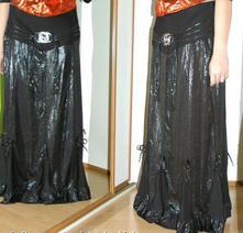 Dlouhá dámská černá sukně s hadím motivem, 38