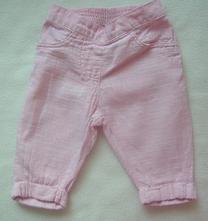 Růžové kalhoty ze lnu a bavlny, next,68