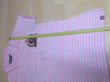 Tričko s límečkem růžové pruhy, m