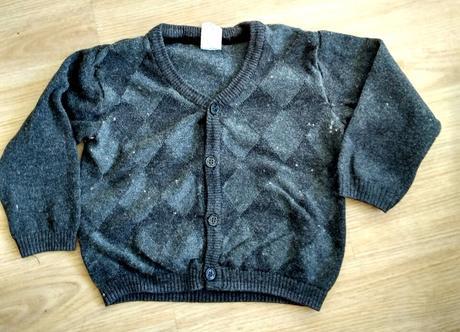 S17 - šedý tenký károvaný svetr, h&m,80