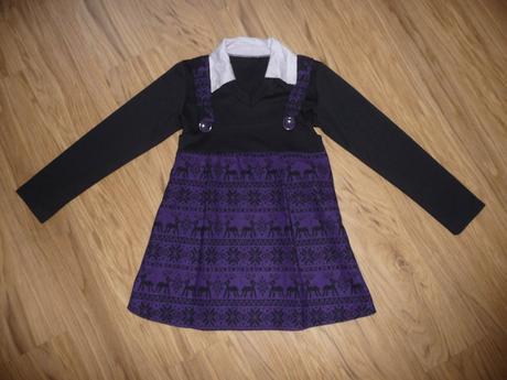 Šaty s rukávem a límečkem na 10-11l- vel.146, 146