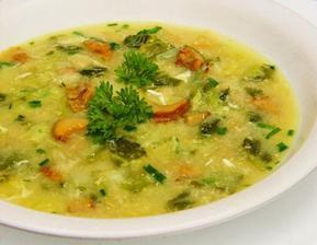 pórková polévka s houbami