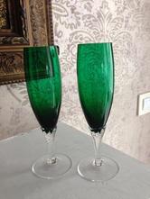 Set sklenky na sekt,víno, lahvově zelené skleničky,