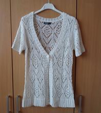 Bílý svetr cardigan kardigan pletený krajkový , colours of the world,m