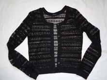 Luxusní černý krajkový rozepínací svetr, terranova,l
