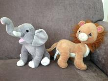 Plyšové hračky zvířata zoo hnědý lev a šedý slon,