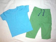 Luxusní komplet tyrkys trička a kalhot - rollky, tu,74